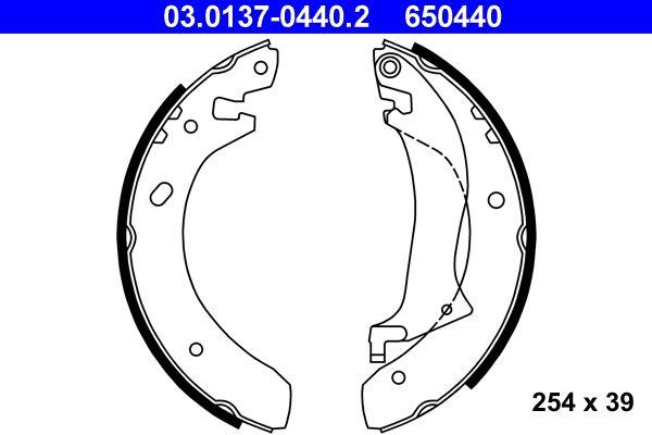 650440 ATE mit Hebel Breite: 39mm Bremsbackensatz 03.0137-0440.2 günstig kaufen