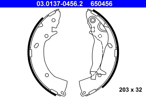 650456 ATE mit Hebel Breite: 32mm Bremsbackensatz 03.0137-0456.2 günstig kaufen