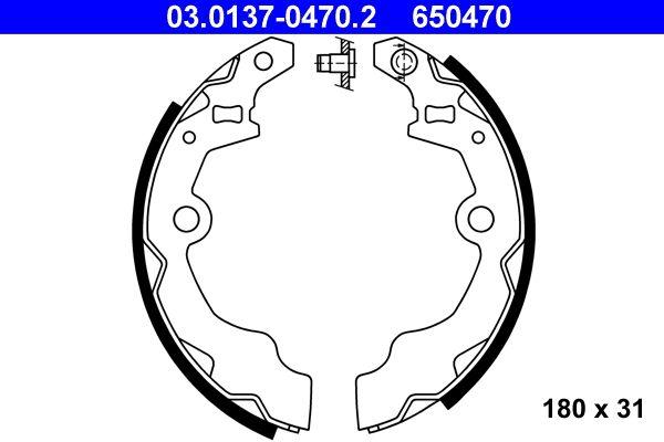 650470 ATE ohne Hebel Breite: 31mm Bremsbackensatz 03.0137-0470.2 günstig kaufen