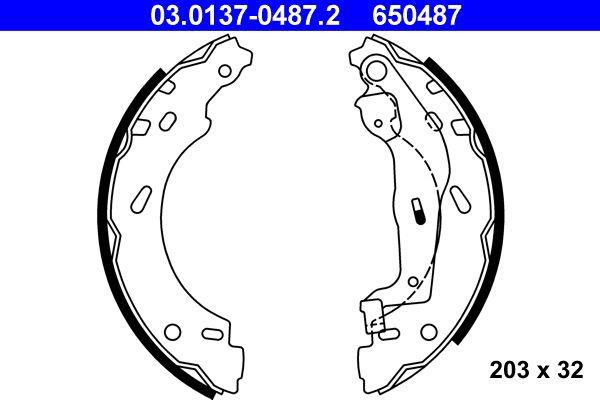 ATE: Original Trommelbremsbacken 03.0137-0487.2 (Breite: 32mm)