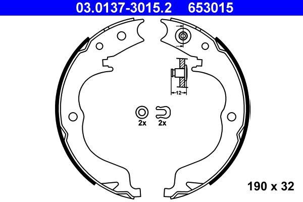 ATE: Original Bremsbacken Handbremse 03.0137-3015.2 (Breite: 32mm)