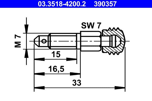 Gaisa vārsta / -ventiļa skrūve ATE 03.3518-4200.2 Pārskatiem
