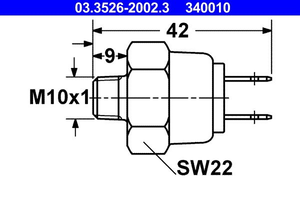 Brake pedal stop light switch 03.3526-2002.3 ATE — only new parts