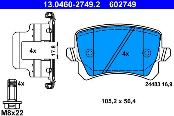 13.0460-2749.2 Komplet zavornih oblog, ploscne (kolutne) zavore ATE - poceni izdelkov blagovnih znamk