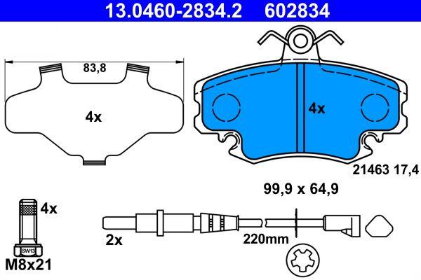 13.0460-2834.2 Bremsbelagsatz, Scheibenbremse ATE Test