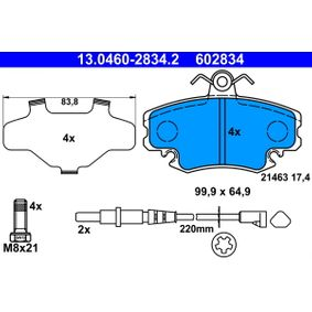 13.0460-2834.2 Bremsbelagsatz, Scheibenbremse ATE in Original Qualität