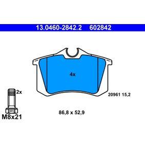 20961 ATE exkl. Verschleißwarnkontakt, mit Bremssattelschrauben Höhe: 52,9mm, Breite: 86,8mm, Dicke/Stärke: 15,2mm Bremsbelagsatz, Scheibenbremse 13.0460-2842.2 günstig kaufen