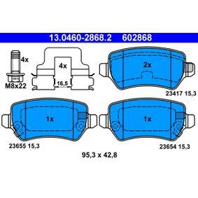 602868 ATE mit akustischer Verschleißwarnung, mit Bremssattelschrauben, mit Zubehör Höhe: 42,8mm, Breite: 95,3mm, Dicke/Stärke: 15,3mm Bremsbelagsatz, Scheibenbremse 13.0460-2868.2 günstig kaufen