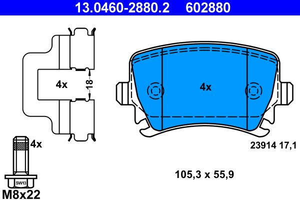 Volkswagen PASSAT 2015 Disk pads ATE 13.0460-2880.2: excl. wear warning contact, prepared for wear indicator, with brake caliper screws, with accessories