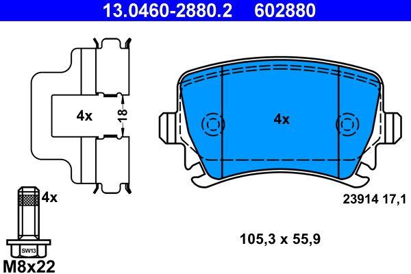 Kupi 602880 ATE brez opozorilnega kontakta obrabe, pripravljen za opozorilnik obrabe, s vijaki za sedlo kolutne zavore, s priborom Visina: 55,9mm, Sirina: 105,3mm, Debelina: 17,1mm Komplet zavornih oblog, ploscne (kolutne) zavore 13.0460-2880.2 poceni