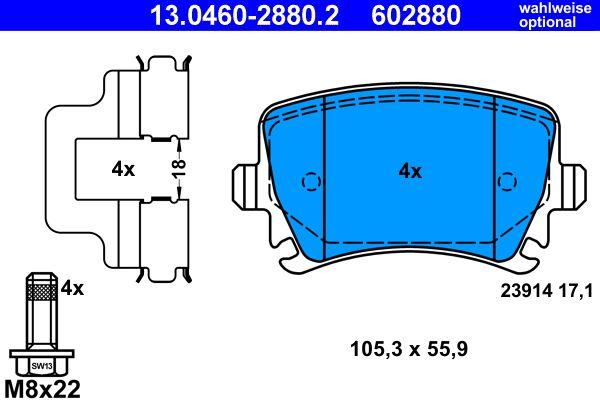 ATE | Komplet zavornih oblog, ploscne (kolutne) zavore 13.0460-2880.2