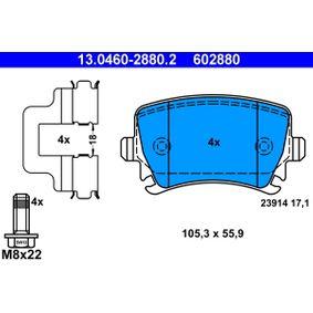 602880 ATE für Verschleißwarnanzeiger vorbereitet, exkl. Verschleißwarnkontakt, mit Bremssattelschrauben, mit Zubehör Höhe: 55,9mm, Breite: 105,3mm, Dicke/Stärke: 17,1mm Bremsbelagsatz, Scheibenbremse 13.0460-2880.2 günstig kaufen
