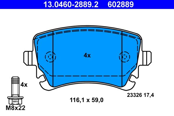 23326 ATE excl. wear warning contact, prepared for wear indicator, with brake caliper screws Height: 59,0mm, Width: 116,1mm, Thickness: 17,4mm Brake Pad Set, disc brake 13.0460-2889.2 cheap