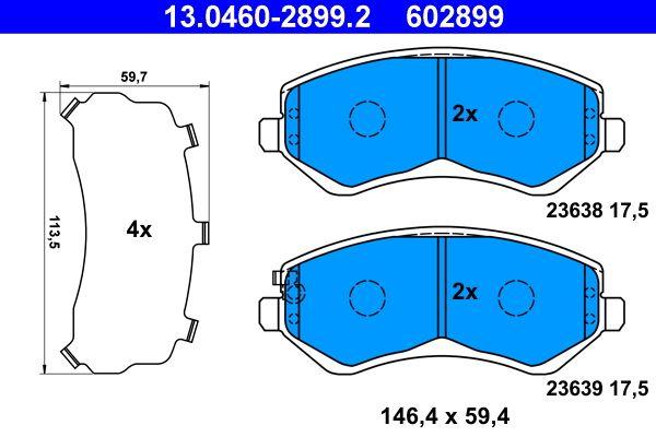 Original CHRYSLER Bremsbelagsatz 13.0460-2899.2