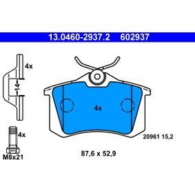 Kupi 602937 ATE brez opozorilnega kontakta obrabe, s vijaki za sedlo kolutne zavore, s priborom Visina: 52,9mm, Sirina: 87,6mm, Debelina: 15,2mm Komplet zavornih oblog, ploscne (kolutne) zavore 13.0460-2937.2 poceni