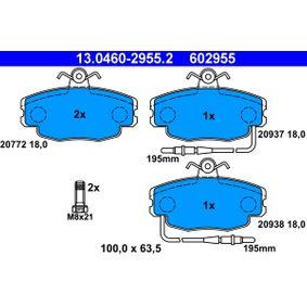20938 ATE inkl. Verschleißwarnkontakt, mit Bremssattelschrauben Höhe: 63,5mm, Breite: 100,0mm, Dicke/Stärke: 18,0mm Bremsbelagsatz, Scheibenbremse 13.0460-2955.2 günstig kaufen
