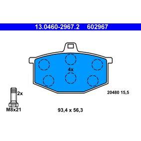20480 ATE nicht für Verschleißwarnanzeiger vorbereitet, exkl. Verschleißwarnkontakt, mit Bremssattelschrauben Höhe: 56,3mm, Breite: 93,4mm, Dicke/Stärke: 15,5mm Bremsbelagsatz, Scheibenbremse 13.0460-2967.2 günstig kaufen