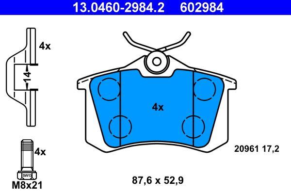 Bremsbelagsatz, Scheibenbremse 13.0460-2984.2 von ATE