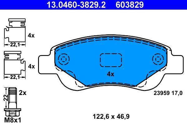 Kit de plaquettes de frein, frein à disque ATE 13.0460-3829.2 Avis