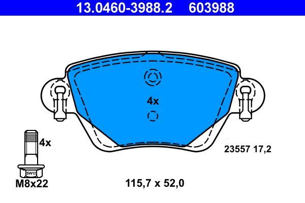 23557 ATE exkl. Verschleißwarnkontakt, nicht für Verschleißwarnanzeiger vorbereitet, mit Bremssattelschrauben Höhe: 52mm, Breite: 115,7mm, Dicke/Stärke: 17,2mm Bremsbelagsatz, Scheibenbremse 13.0460-3988.2 günstig kaufen