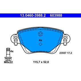 23557 ATE nicht für Verschleißwarnanzeiger vorbereitet, exkl. Verschleißwarnkontakt, mit Bremssattelschrauben Höhe: 52mm, Breite: 115,7mm, Dicke/Stärke: 17,2mm Bremsbelagsatz, Scheibenbremse 13.0460-3988.2 günstig kaufen