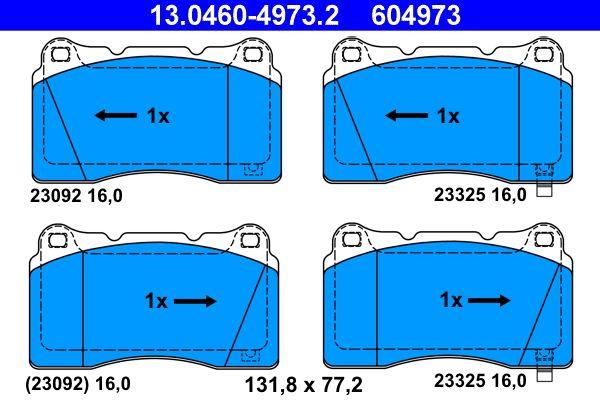 SUBARU WRX 2015 Bremsklötze - Original ATE 13.0460-4973.2 Höhe: 77,2mm, Breite: 131,8mm, Dicke/Stärke: 16,0mm