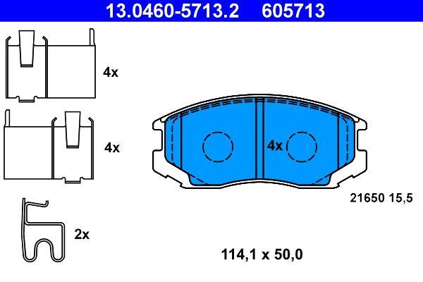 DAIHATSU TERIOS 2017 Bremsbelagsatz Scheibenbremse - Original ATE 13.0460-5713.2 Höhe: 50,0mm, Breite: 114,1mm, Dicke/Stärke: 15,5mm