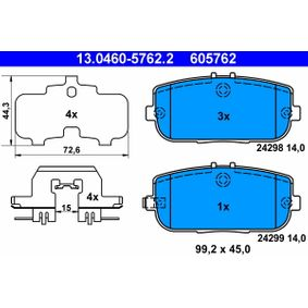 Brake Pad Set, disc brake 13.0460-5762.2 for MAZDA MX at a discount — buy now!