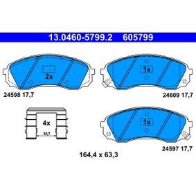 24609 ATE mit akustischer Verschleißwarnung, mit Zubehör Höhe: 63,3mm, Breite: 164,4mm, Dicke/Stärke: 17,7mm Bremsbelagsatz, Scheibenbremse 13.0460-5799.2 günstig kaufen