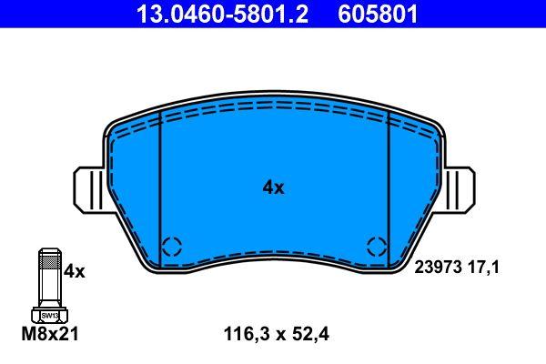Bremsbelagsatz, Scheibenbremse 13.0460-5801.2 von ATE