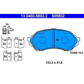23490 ATE mit akustischer Verschleißwarnung, mit Zubehör Höhe: 51,8mm, Breite: 123,2mm, Dicke/Stärke: 15,4mm Bremsbelagsatz, Scheibenbremse 13.0460-5802.2 günstig kaufen