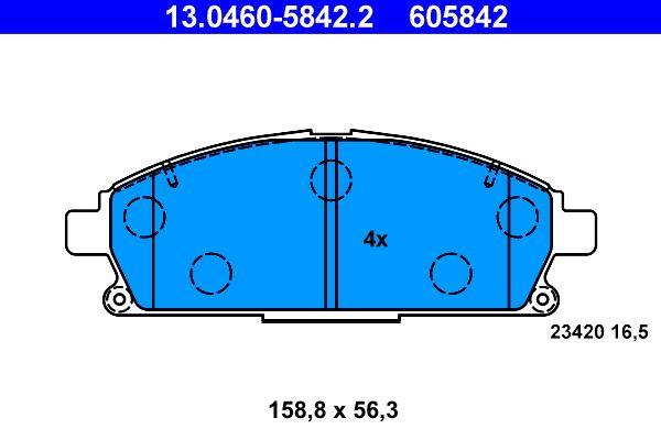 ATE Bremsbelagsatz, Scheibenbremse 13.0460-5842.2