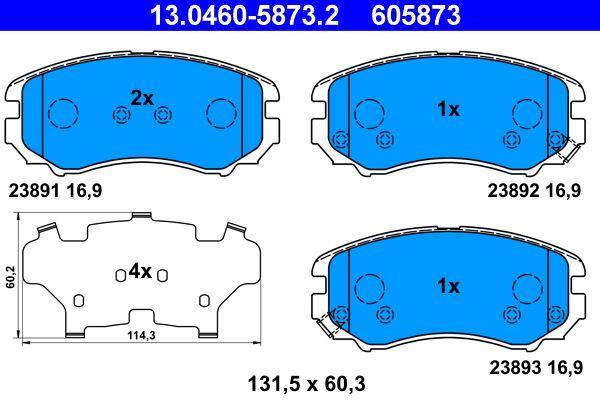 KIA SOUL 2017 Bremsbelagsatz Scheibenbremse - Original ATE 13.0460-5873.2 Höhe: 60,3mm, Breite: 131,5mm, Dicke/Stärke: 16,9mm