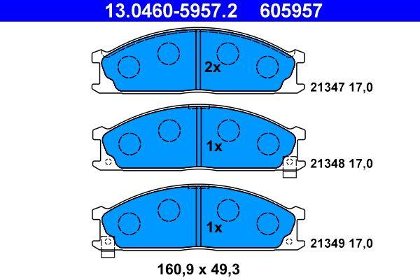 21349 ATE mit akustischer Verschleißwarnung Höhe: 49,3mm, Breite: 160,9mm, Dicke/Stärke: 17,0mm Bremsbelagsatz, Scheibenbremse 13.0460-5957.2 günstig kaufen