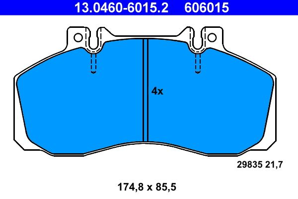 MERCEDES-BENZ VARIO 2020 Bremsbelagsatz - Original ATE 13.0460-6015.2 Höhe: 85,5mm, Breite: 174,8mm, Dicke/Stärke: 21,7mm