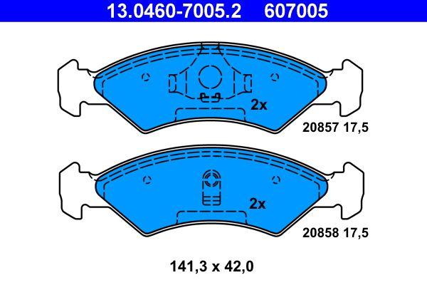 Bremssteine FORD Fiesta Mk1 Kastenwagen (WFVT) hinten + vorne 1983 - ATE 13.0460-7005.2 (Höhe: 42,0mm, Breite: 141,3mm, Dicke/Stärke: 17,5mm)