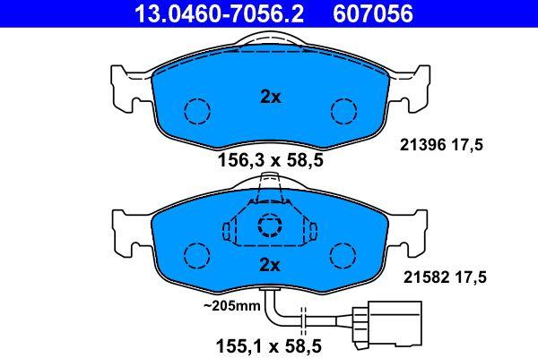 Bremsbelagsatz Ford Mondeo GBP hinten + vorne 1993 - ATE 13.0460-7056.2 (Höhe: 58,5mm, Breite 1: 156,3mm, Breite 2: 155,1mm, Dicke/Stärke: 17,5mm)