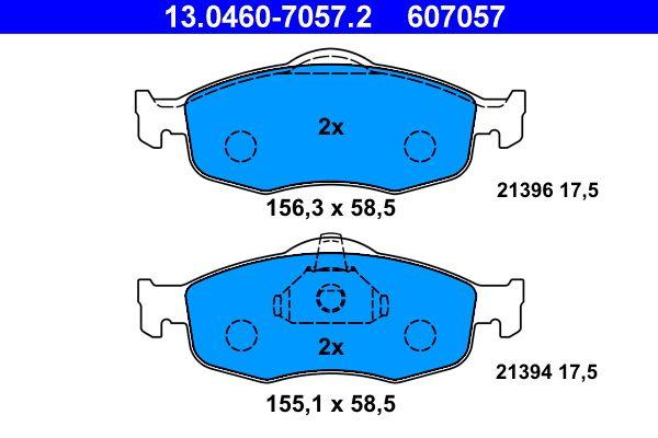 Bremsbelagsatz Scheibenbremse Ford Mondeo MK1 GBP hinten + vorne 1996 - ATE 13.0460-7057.2 (Höhe: 58,5mm, Breite 1: 156,3mm, Breite 2: 155,1mm, Dicke/Stärke: 17,5mm)