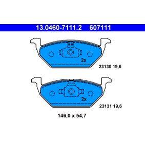 607111 ATE no preparado para indicador de desgaste, excl. contacto de avisador de desgaste Altura: 54,7mm, Ancho: 146,0mm, Espesor: 19,6mm Juego de pastillas de freno 13.0460-7111.2 a buen precio