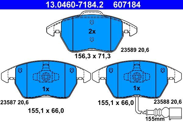 13046071842 Sada brzdových destiček, kotoučová brzda ATE 23589 - Obrovský výběr — ještě větší slevy