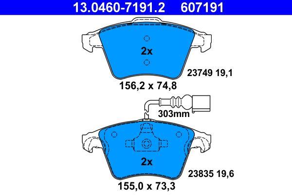 23835 ATE inkl. Verschleißwarnkontakt Höhe 1: 74,8mm, Höhe 2: 73,3mm, Breite 1: 156,2mm, Breite 2: 155,0mm, Dicke/Stärke 1: 19,1mm, Dicke/Stärke 2: 19,6mm Bremsbelagsatz, Scheibenbremse 13.0460-7191.2 günstig kaufen
