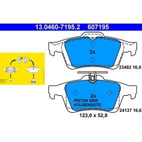 607195 ATE nicht für Verschleißwarnanzeiger vorbereitet, exkl. Verschleißwarnkontakt Höhe: 52,0mm, Breite: 123,0mm, Dicke/Stärke: 16,6mm Bremsbelagsatz, Scheibenbremse 13.0460-7195.2 günstig kaufen