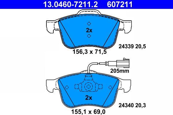 ATE 13046072112 Bremsbelagsatz Scheibenbremse