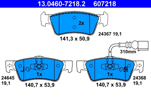 24645 ATE inkl. Verschleißwarnkontakt Höhe 1: 50,9mm, Höhe 2: 53,9mm, Breite 1: 141,3mm, Breite 2: 140,7mm, Dicke/Stärke: 19,1mm Bremsbelagsatz, Scheibenbremse 13.0460-7218.2 günstig kaufen