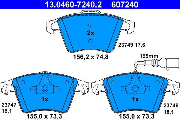 13.0460-7240.2 Bremssteine ATE in Original Qualität