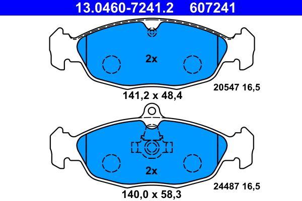 24487 ATE exkl. Verschleißwarnkontakt, für Verschleißwarnanzeiger vorbereitet Höhe 1: 48,4mm, Höhe 2: 58,3mm, Breite 1: 141,2mm, Breite 2: 140,0mm, Dicke/Stärke: 16,5mm Bremsbelagsatz, Scheibenbremse 13.0460-7241.2 günstig kaufen