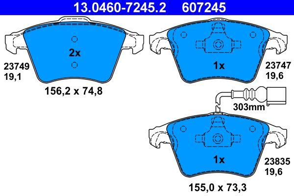 23835 ATE inkl. Verschleißwarnkontakt Höhe 1: 73,3mm, Höhe 2: 74,8mm, Breite 1: 155,0mm, Breite 2: 156,2mm, Dicke/Stärke 1: 19,6mm, Dicke/Stärke 2: 19,1mm Bremsbelagsatz, Scheibenbremse 13.0460-7245.2 günstig kaufen