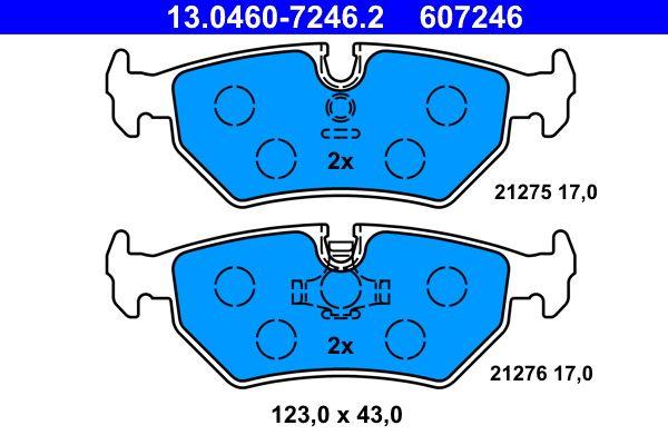 21276 ATE exkl. Verschleißwarnkontakt, für Verschleißwarnanzeiger vorbereitet Höhe: 43,0mm, Breite: 123,0mm, Dicke/Stärke: 17,0mm Bremsbelagsatz, Scheibenbremse 13.0460-7246.2 günstig kaufen