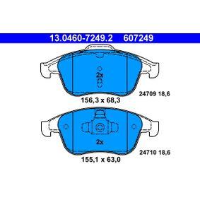 24710 ATE nicht für Verschleißwarnanzeiger vorbereitet, exkl. Verschleißwarnkontakt Höhe 1: 63,0mm, Höhe 2: 68,3mm, Breite 1: 155,1mm, Breite 2: 156,3mm, Dicke/Stärke: 18,6mm Bremsbelagsatz, Scheibenbremse 13.0460-7249.2 günstig kaufen