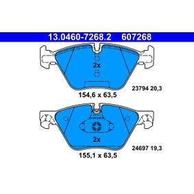 24697 ATE förb. för slitvarnarkontakt, exkl. slitvarnarkontakt Höjd 1: 63,5mm, Br. 1 [mm]: 155,1mm, Br. 2 [mm]: 154,6mm, Tjocklek 1: 19,3mm, Tjocklek 2: 20,3mm Bromsbeläggssats, skivbroms 13.0460-7268.2 köp lågt pris
